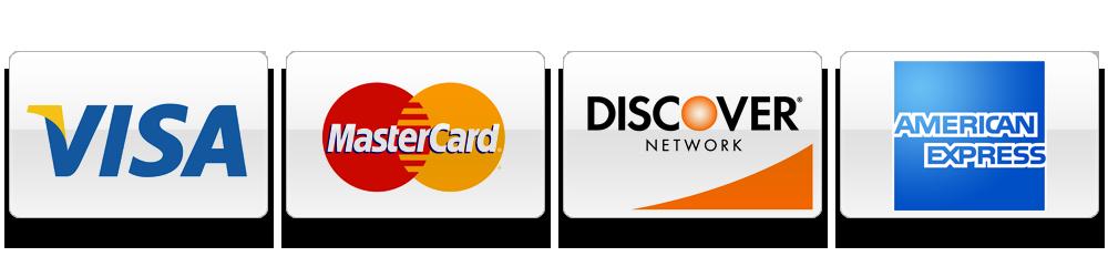Visa, Mastercard, Discover, and American Express Logos
